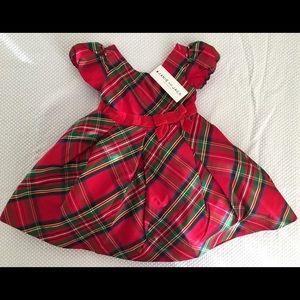 NWT Janie and Jack Silk Plaid Holiday Dress 6-12mo